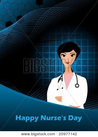 abstract wave, honeycomb background with cute doctor, vector illustration