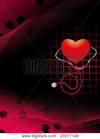abstract wave, honeycomb background with heart and stethoscope