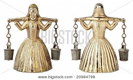 Vintage Brass Bell Shape Of A Woman With A Yoke