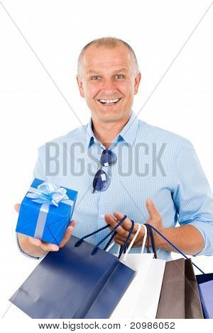Mature Smilling Man Hold Shopping Bags