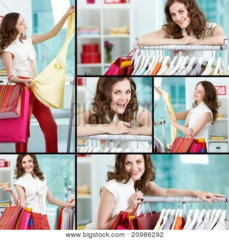 Collage of pretty woman shopping in clothing department