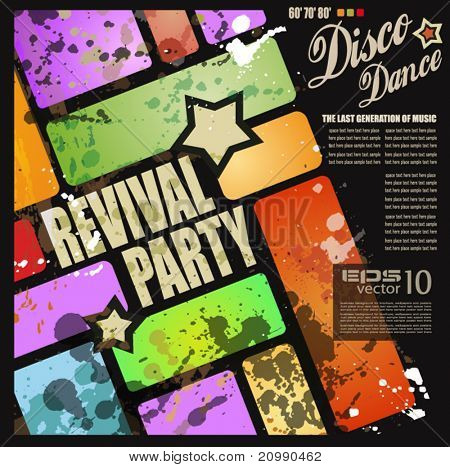 Retro' revival disco party flyer or poster for musical event