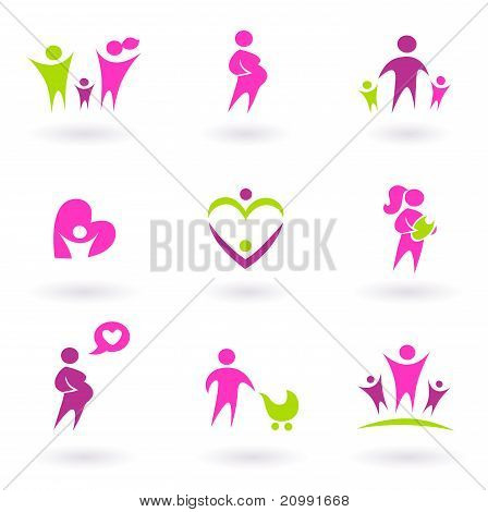 Maternity, Pregnancy And Health Icons Isolated On White - Pink, Green