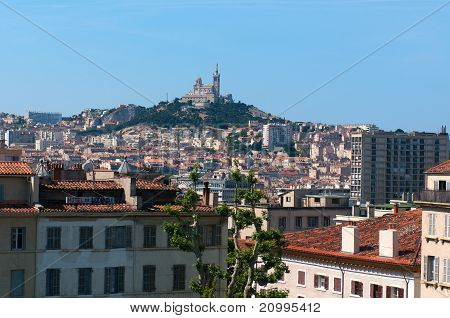 View of Marseille and basilica Notre-Dame de la Garde