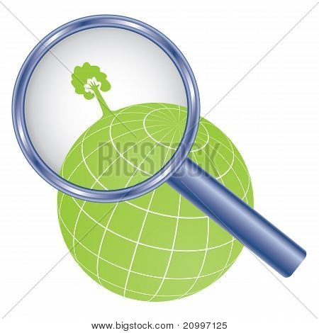 Tree On Earth Under Magnifier Glass