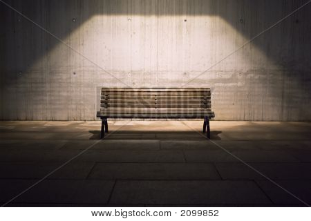 Lonely Bench In Spotlight