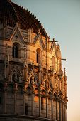 Pisa Piazza dei Miracoli and church dome closeup view with beautiful pattern  in Italy at sunset poster
