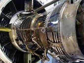 image of mechanical engineering  - aircraft jet engine detail in the exposition - JPG