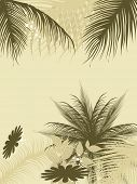 abstract background with palm tree and floral illustration