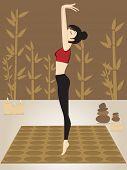 Постер, плакат: Абстрактный фон с секси девушка делает йога
