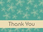 image of thank you note  - florals background with thank you text - JPG