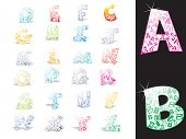 background with collection of colorful alphabet
