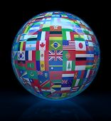 The Glass Globe With Flags Of The World