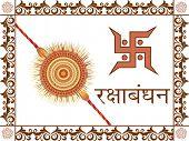stock photo of swastik  - floral border on white background with rakhi - JPG