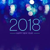 Happy New Year 2018 With Blue Bokeh Light Sparkling On Dark Blue Purple Background,holiday Greeting poster