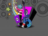 pic of stratocaster  - abstract colorful artwork background with musical instrument - JPG