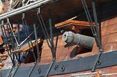 foto of galleon  - Detail of an historical galleon moored in the port of Genova Italy - JPG