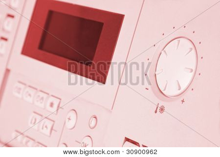 Control panel of gas boiler. Toned
