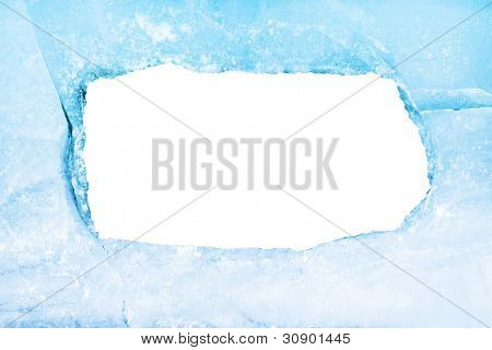 Empty frame of blue ice. Isolated on white