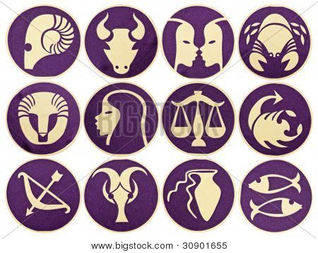 Set of Zodiac symbols. Isolated on white
