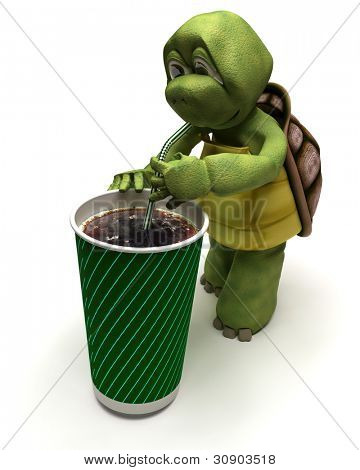 3D render of a tortoise with a soda and a straw
