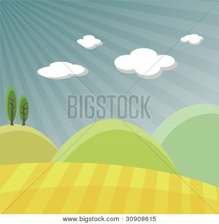 Vector landscape with hills