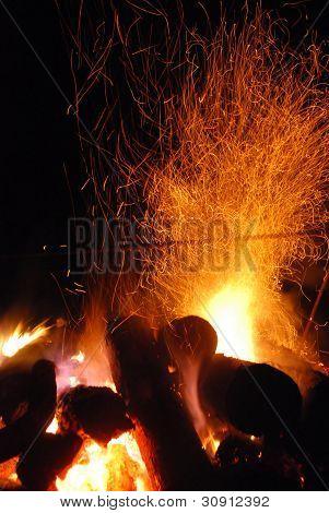 bonfire in the dark night