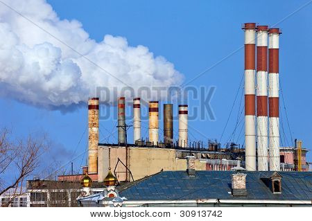 Lots Of Smoking Chimneys Other Blue Sky