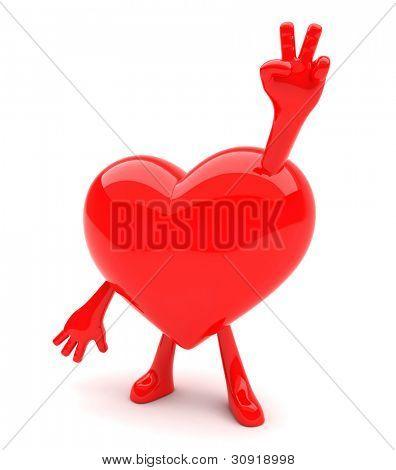 Mascota mostrando el signo de la victoria con sus manos en forma de corazón