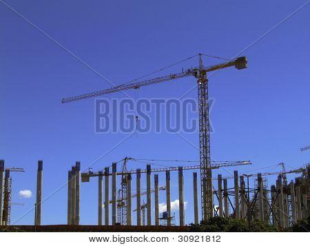 Cranes on the jobsite.
