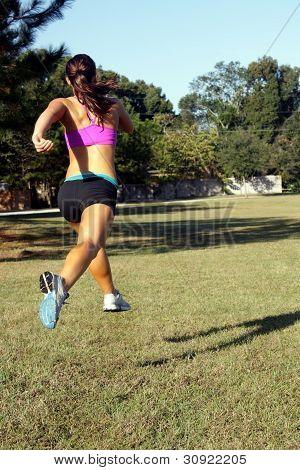 Beautiful Brunette Jogging Outdoors (5)