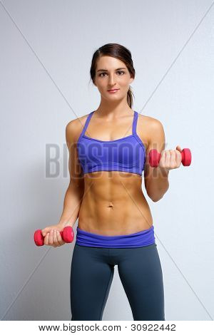 Beautiful Brunette Athlete With Hand Weights (1)