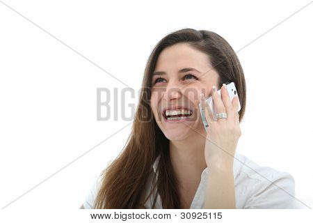 Woman Laughing Merrily On Her Mobile