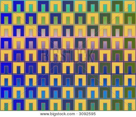 Pop Art Checkerboard Of Blue Green Yellow
