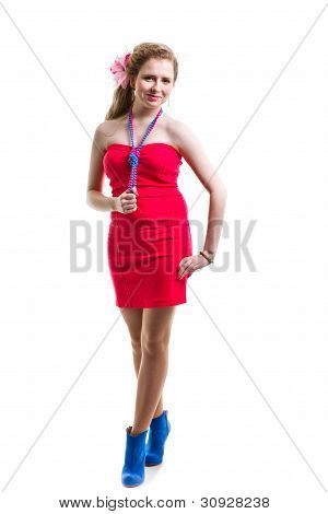 Attractive Young Girl Wearing Red Dress On Isolated White