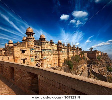 Mughal architecture - Gwalior fort entrance towers. Gwalior, Madhya Pradesh, India