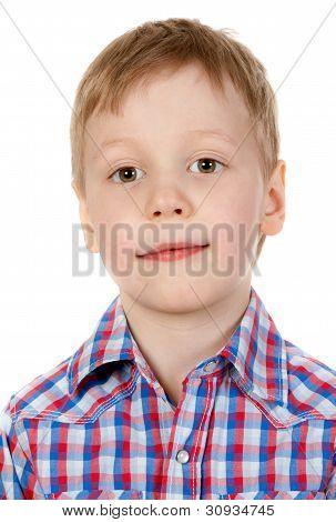 Portrait Of A Boy In A Plaid Shirt