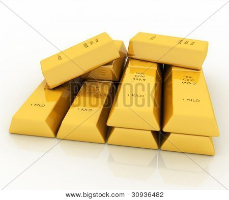 3d gold bars isolated on white background