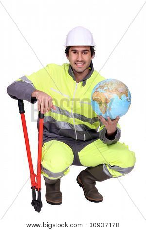 Worker with boltcutters and a globe