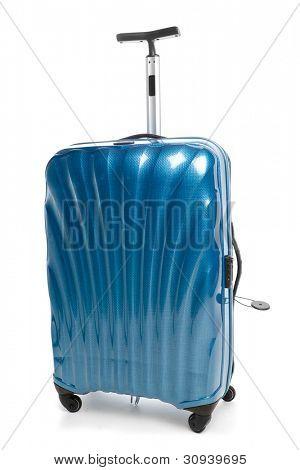 blaue modernen Reisens Koffer isoliert auf weiss