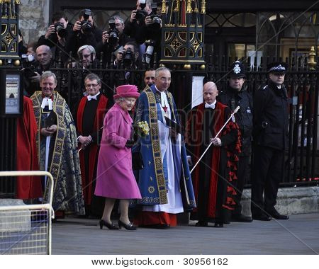 LONDON - MARCH 12: Queen Elizabeth leaves Westminster Abbey after the Commonwealth Day ceremony on March 12, 2012 in London, UK.