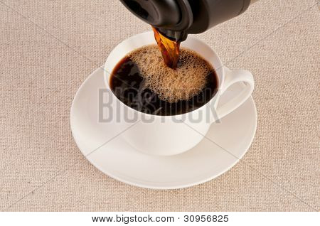 Black Coffee In A White Cup On Canvas