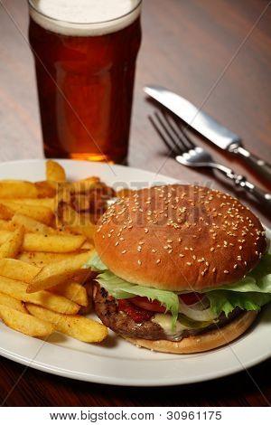 Burger And Fries At A Pub