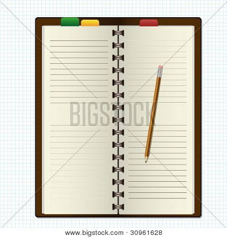an empty diary and pencil