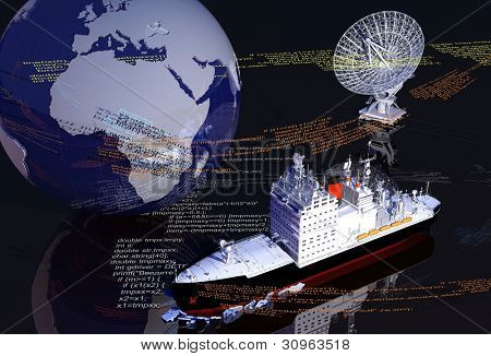 Models of the globe and an icebreaker on the mirror surface.