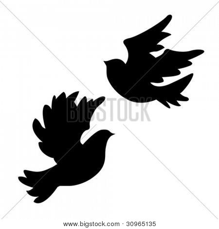 dove silhouette on white background, vector illustration