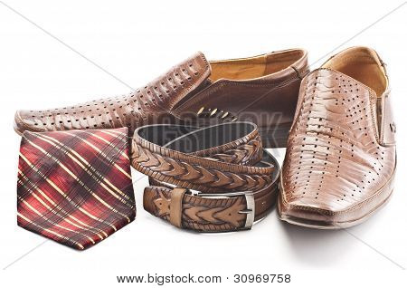 Men's Shoes, Tie And Men's Belt
