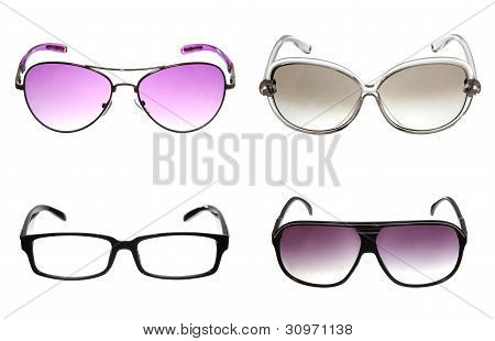 Set Of Colorful Sunglasses Isolated On White