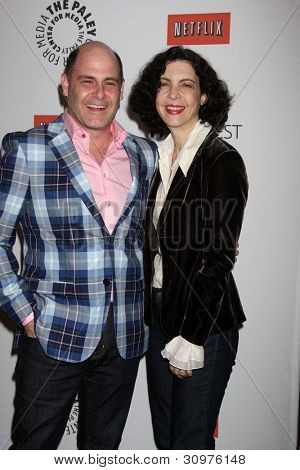 LOS ANGELES - MAR 13:  Matthew Weiner; Linda Brettler. arrives at the