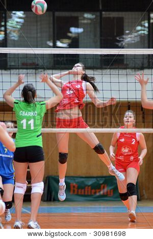 KAPOSVAR, HUNGARY - FEBRUARY 3: Zsofia Harmath (red 3) in action at the Hungarian Championship volleyball game Kaposvar (red) vs Miskolc (green), February 3, 2012 in Kaposvar, Hungary
